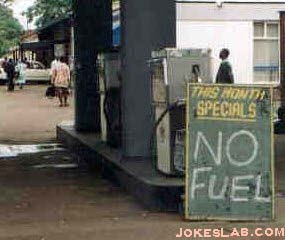 funny gas promotion sign, no gas this month