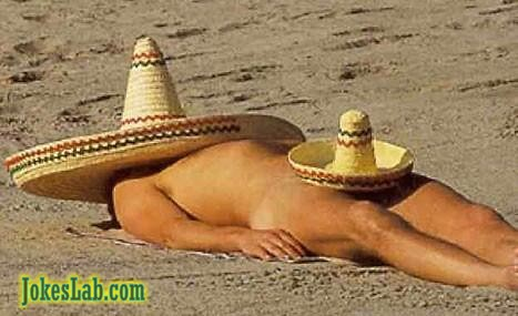 funny picture, man in the beach, cover himself
