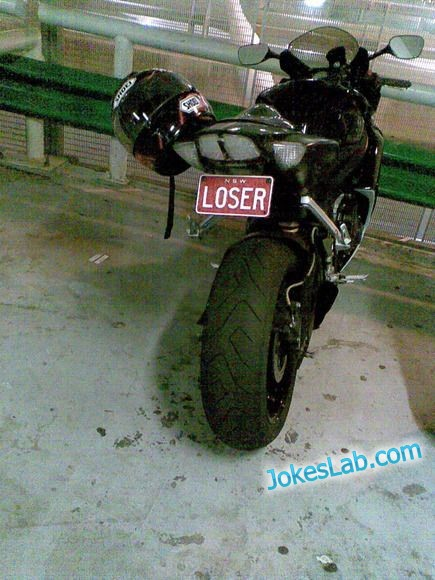 funny car plate, loser, motocycle