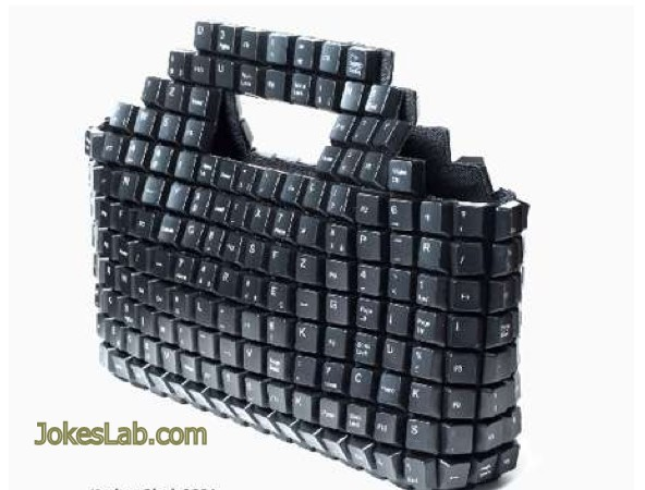 funny shopping bag, keyboard,  IT