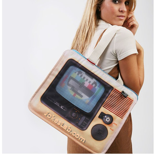 funny shopping bag with old fashioned TV