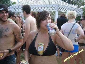 funny beer holder by woman's breast