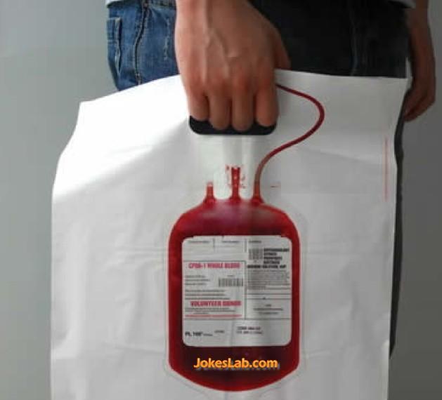 funny shopping bag, blood bag