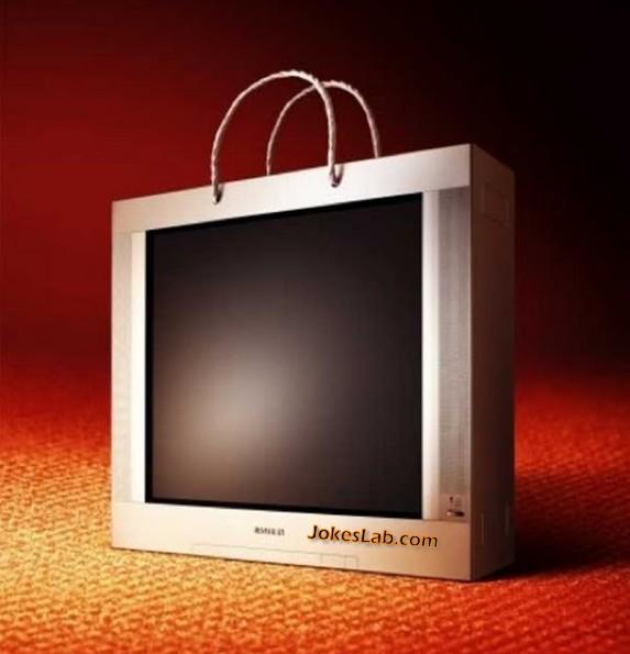 funny shopping bag, flat screen tv