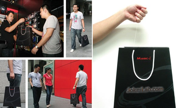 funny shopping bag with invisible strings