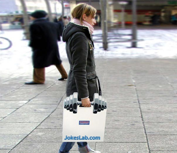 funny fitness lady, and shopping bag