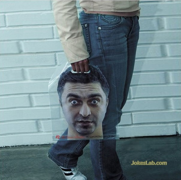 funny shopping bag, man's head