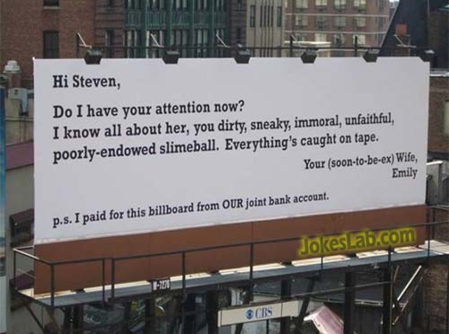 funny billboard to cheating husband