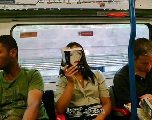 funny book cover, reading in a train