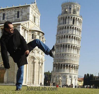 funny man, pisa tower
