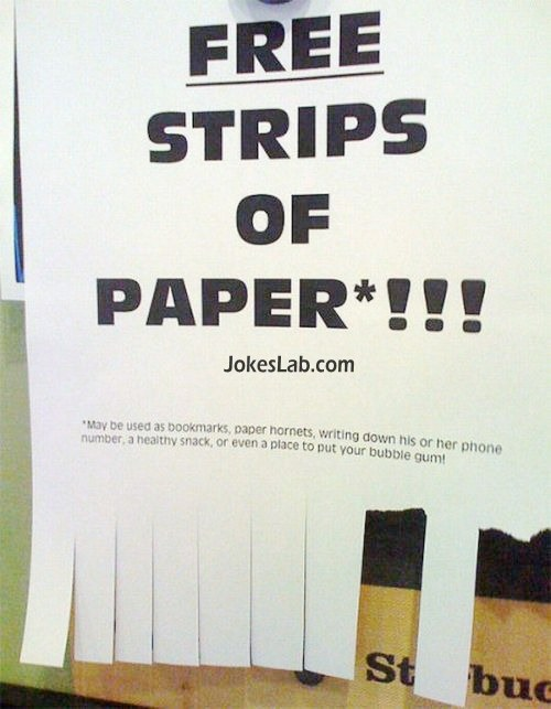 free strips, funny tear off