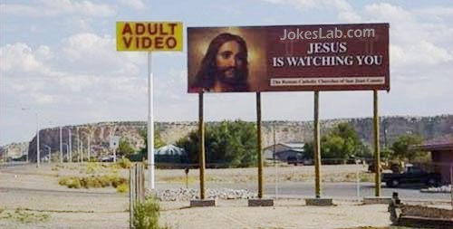 funny sign, Jesus is watching adult video