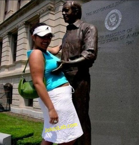 funny statue, touch my breast, and I am enjoying it