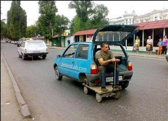 funny car repair, spare tyre