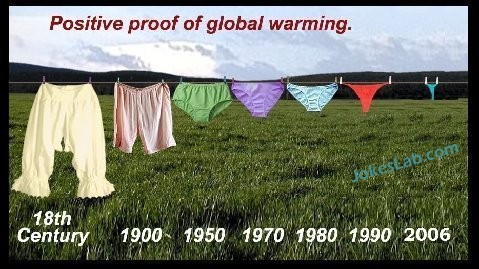 positive proof of global warming through the size of woman's  panties, not mentioned by Al Gore.