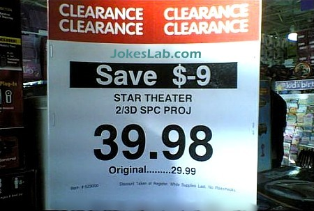 funny sale sign, you save -$9, clearance sale