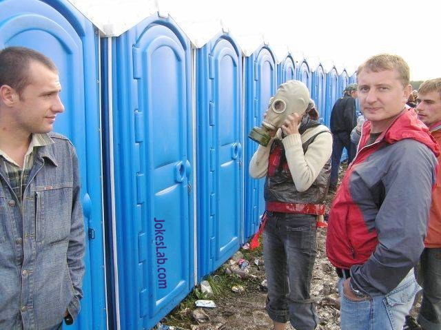 funny picture, gas mask for porta potty