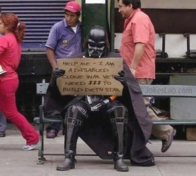 funny iron man beggar, need money