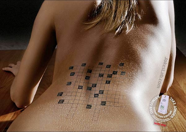 funny condom ads, play crossword,  long pleasure