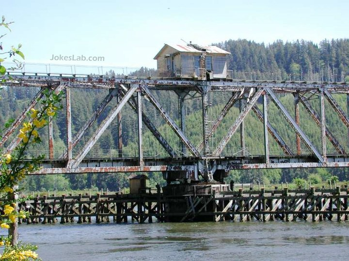 funny house on a railway bridge