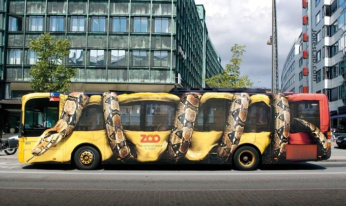 funny bus ad for a zoo, snake