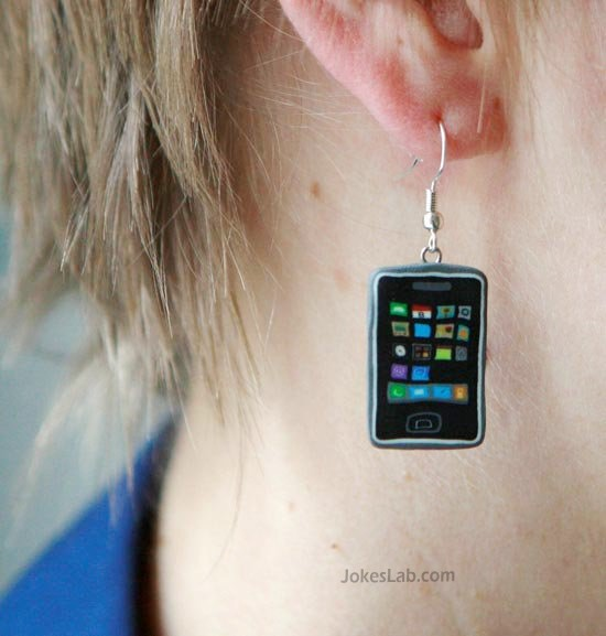 funny iPhone earring, Apple fanboi