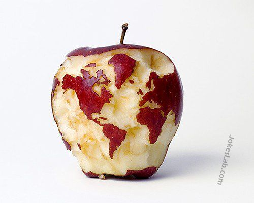 funny world map with apple
