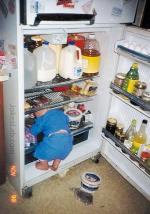 funny boy find food in the refrigerator