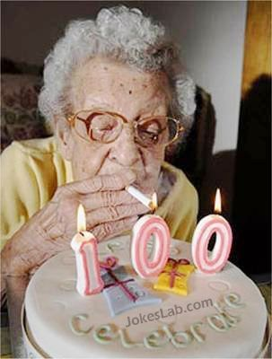 funny celebration, smoking leads to longevity