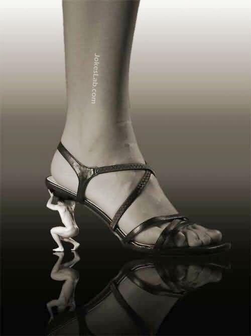 funny high heel, naked man as the heel