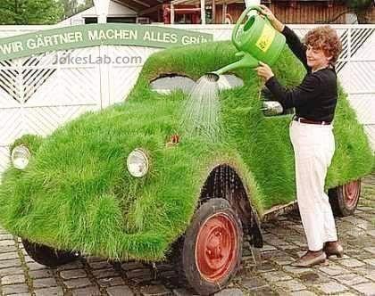 funny green car