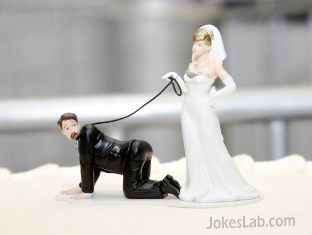 funny wedding cake, woman chain a man like a dog