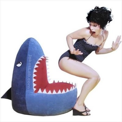 funny-shark-seat-and-woman