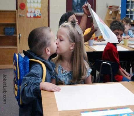 kids kissing in classroom