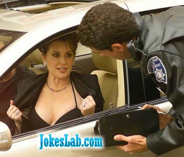 here-is-the-license, woman shows his breat to the traffic police