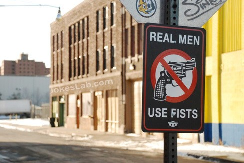 funny-road-sign-no-gun-real-man-use-fists