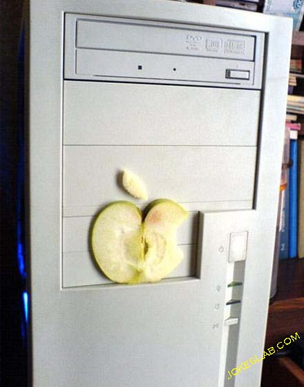 funny apple pc with real apple