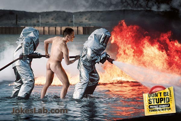 funny condom advertisement, fire brigade, protect yourself