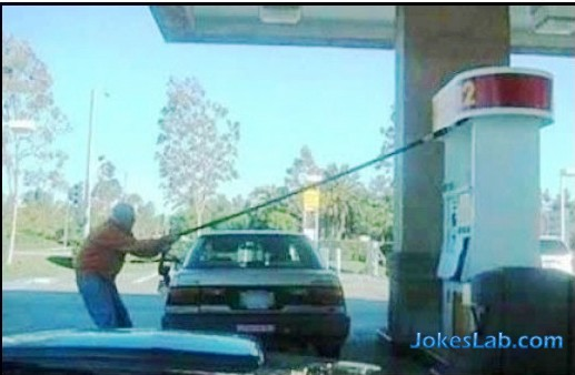 crazy man in gas station filling the tank