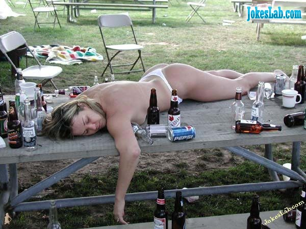 funny naked drunken woman