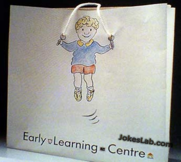 funny shopping bag for a early learning center