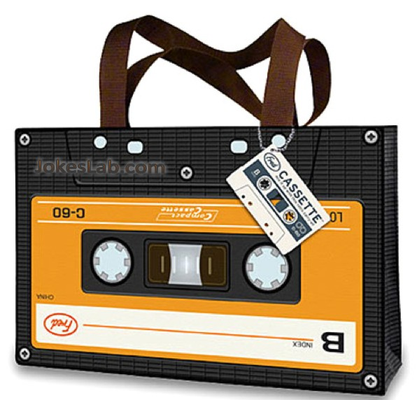 funny shopping bag: a cassette bag
