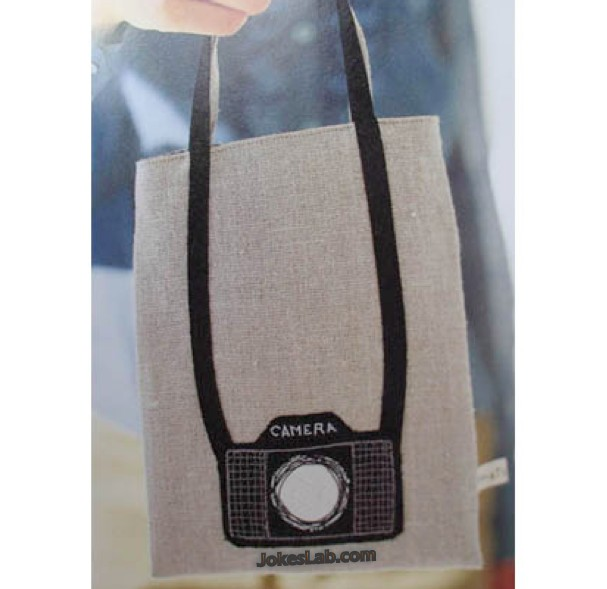 funny shopping bag, camera