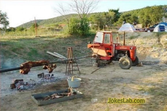 funny barbecue in countryside