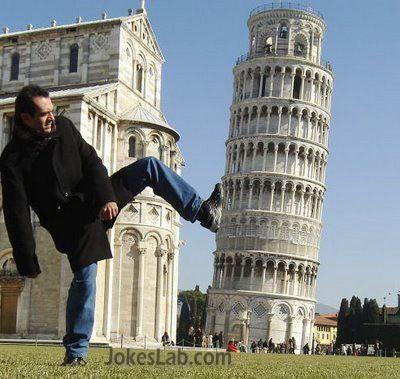funny man, pisa tower
