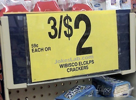 funny sale sign, 3 for $2, each for 59 cents, crackers