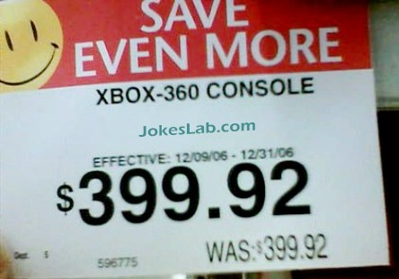 funny sale sign, save more for your xbox console