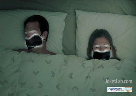 funny Aquafresh ad, couple in bed