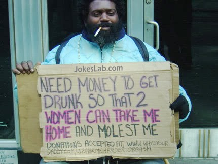 funny beggar, need money to drunken so that  woman can molest him