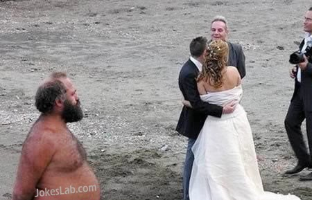 funny photo bomb, wedding photo, beard man, in the beach